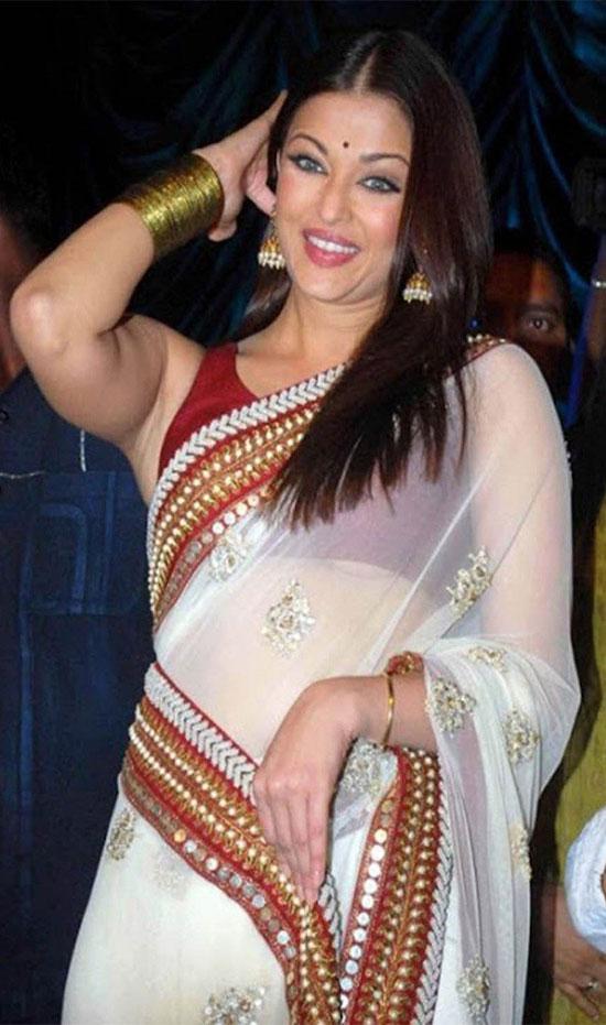aishwarya-rai-in white net saree
