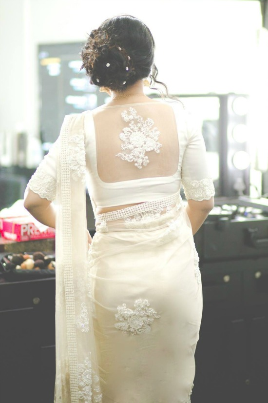 White Embroidery Flower On Back Center Of The Net Blouse