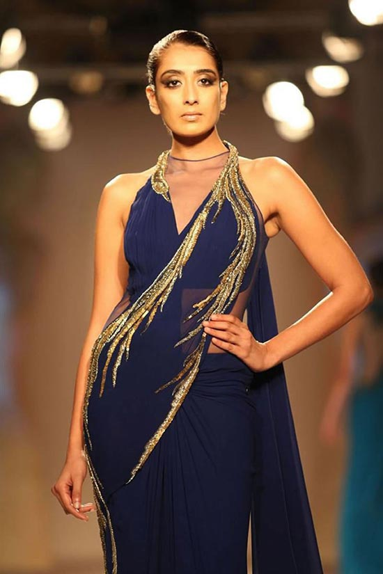 Midnight Blue Sari Gown with Golden Embellishments By Gaurav Gupta