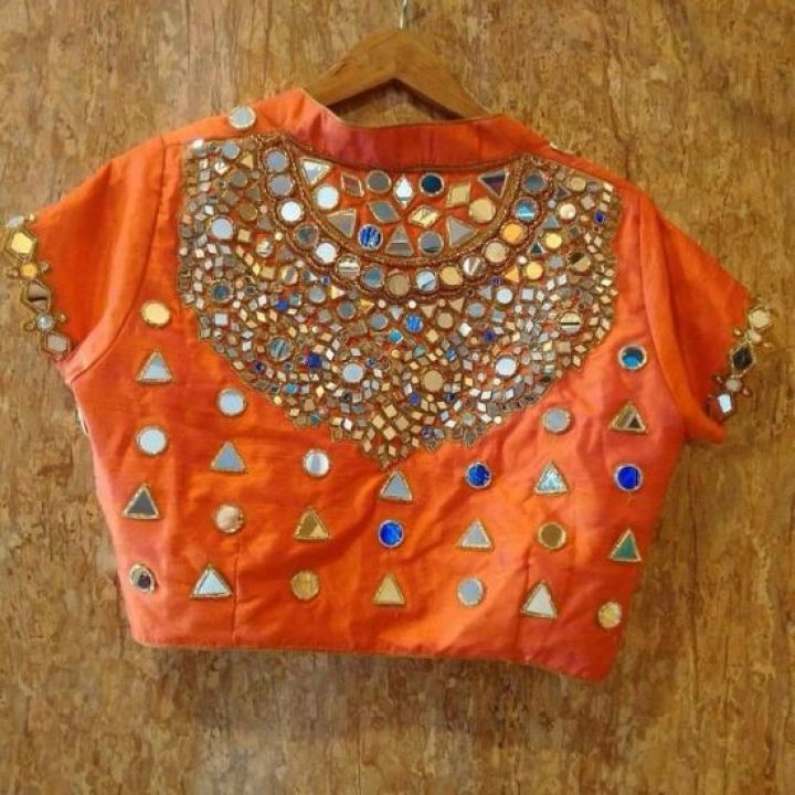 Orange Color Jewel Mirror Work Neck Blouse