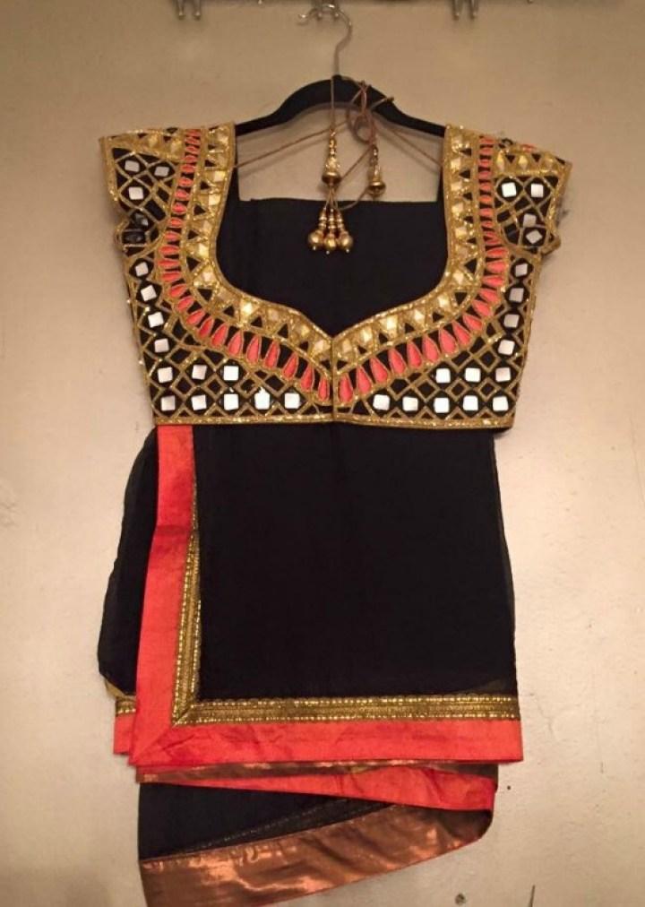 Black Saree With Cut Work Blouse