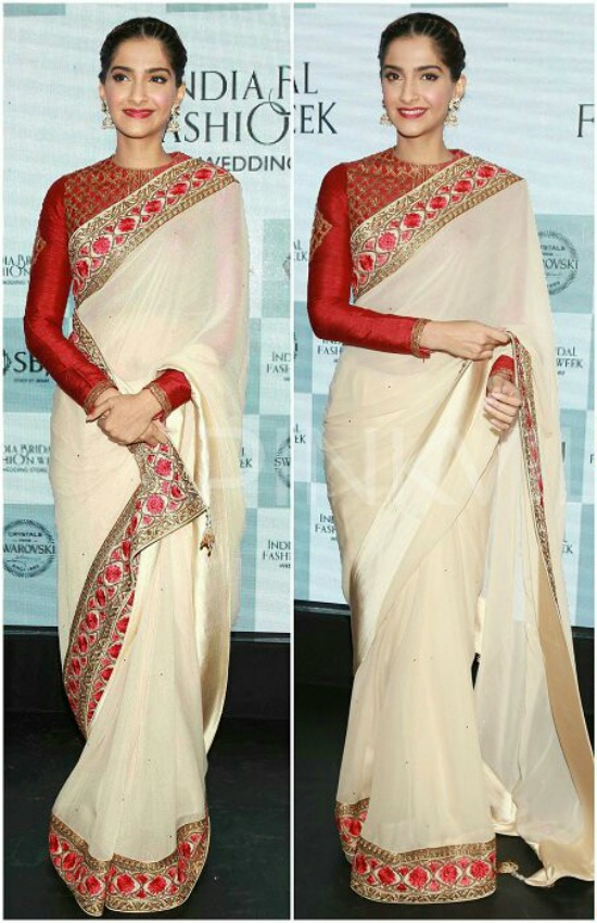 Sonam Kapoor In Georgette Border Work Plain Off-White Saree