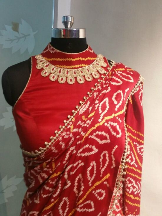 High Neck Blouse For Red Bandhej Saree