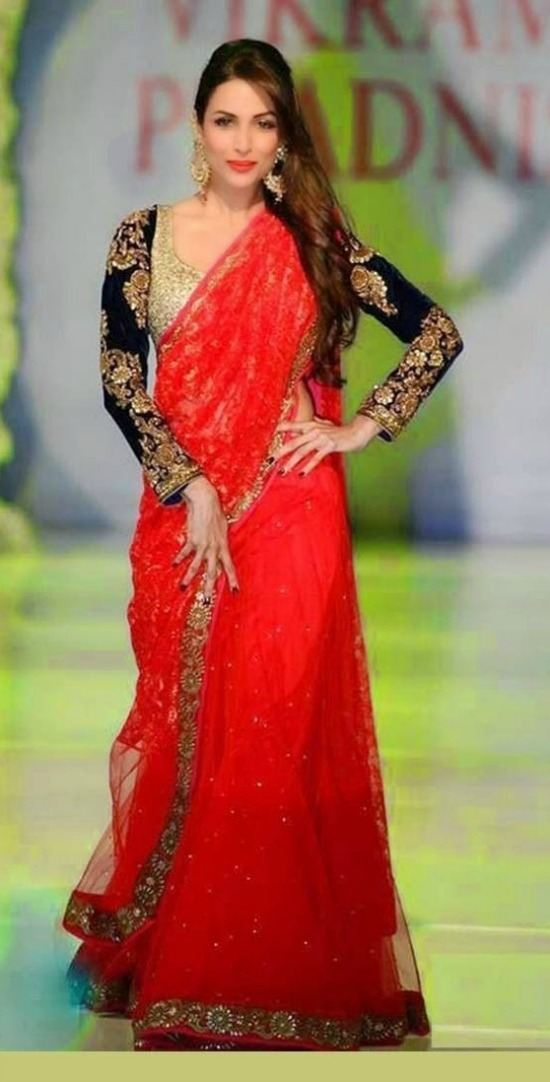 Replica Malaika Red Rose Wedding Saree