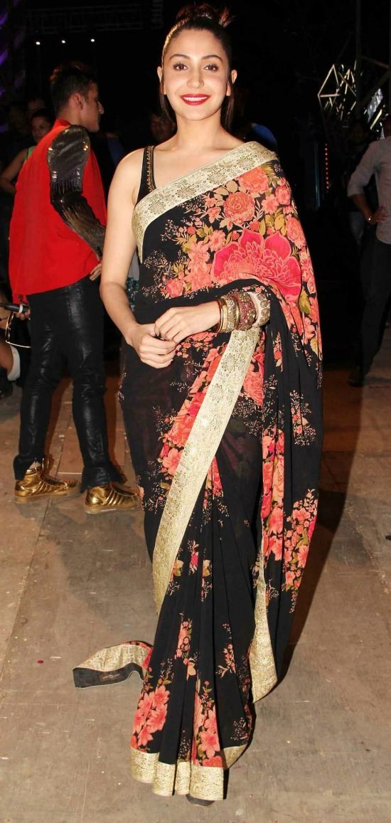 Anushka Sharma In Black And Red Floral Print Saree