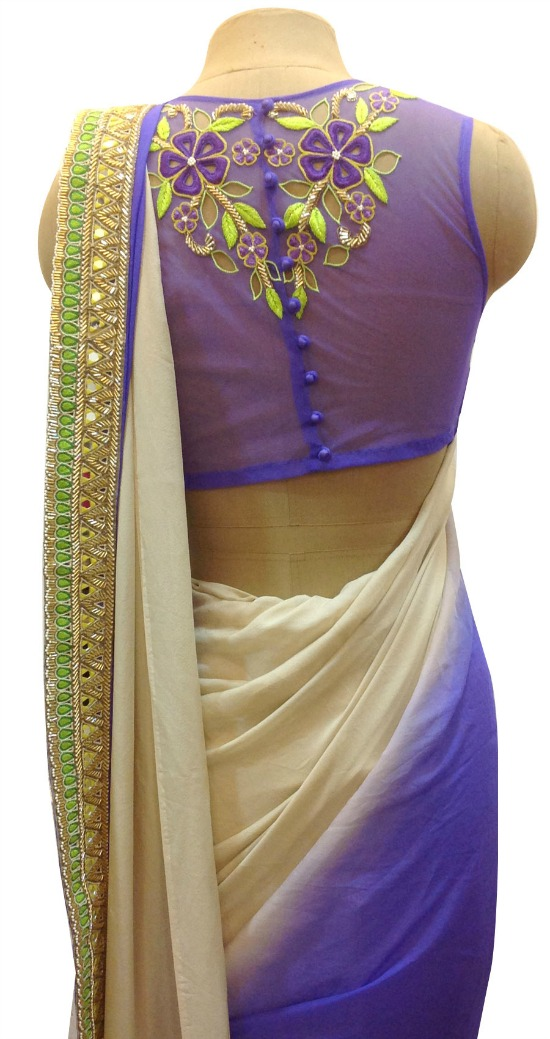 Embroidered Back Of Net Sari Blouse With All Through Buttons