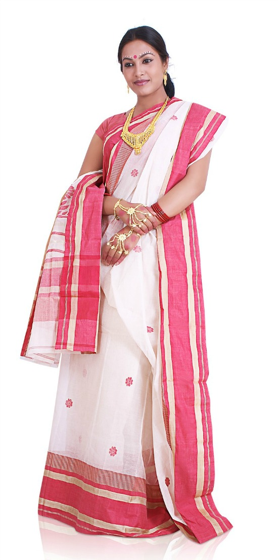 Pure Cotton Bengali Saree With Embroidery Motifs