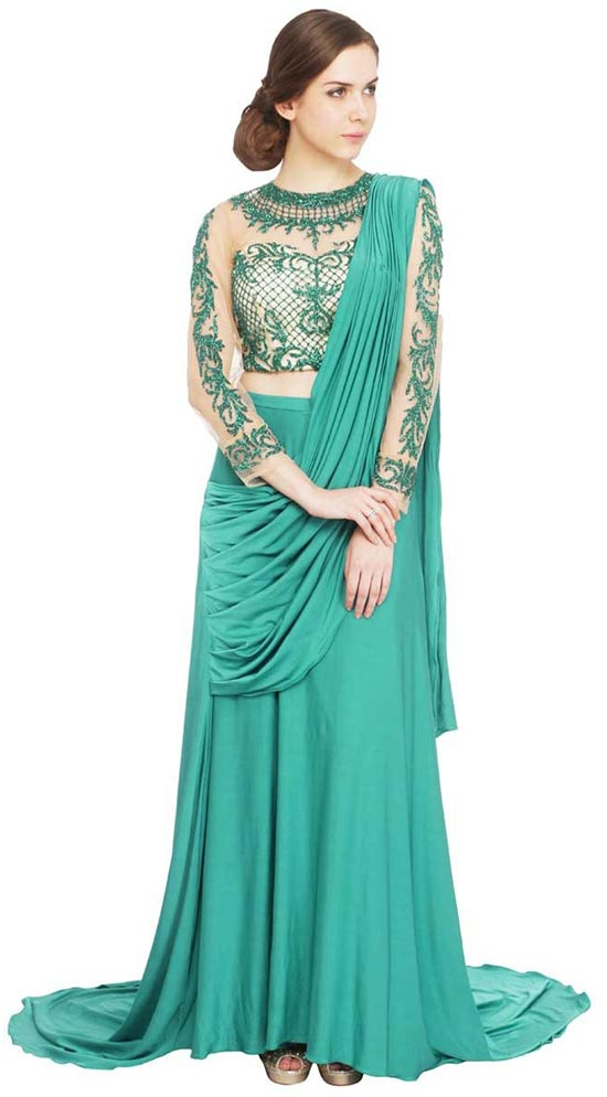Comination Of Beige And Vibrant Teal Green Saree Gown