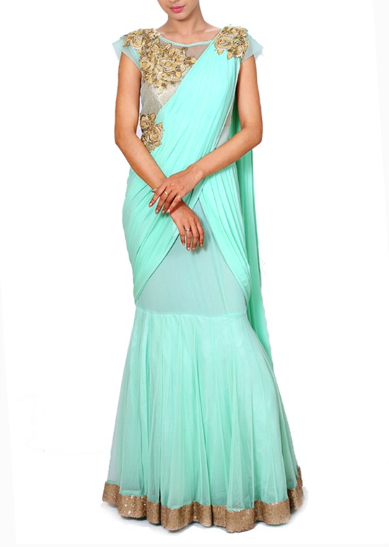 Embroidered Aqua Blue Gown In A Saree Style Drape