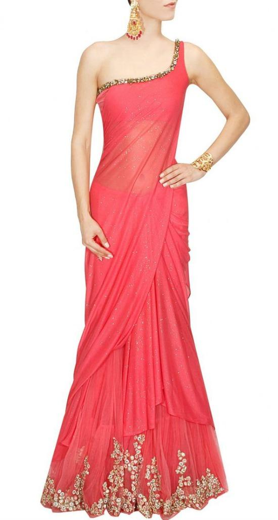 One Shoulder Sequins Work Pink Saree Gown