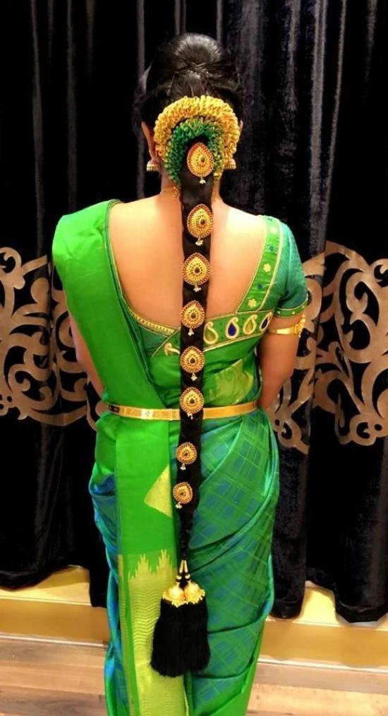 Parrot Green Asymmetri Work Blouse For Pattu Saree