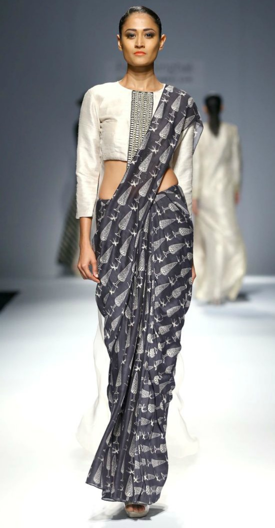 Black and White Printed Designer Saree