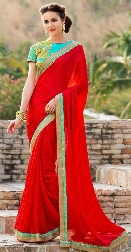 Red Chiffon Saree With Embroidery Blouse
