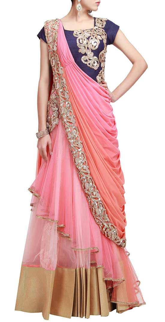 Pre Stitched Embroidered Saree Gown In Peach And Pink