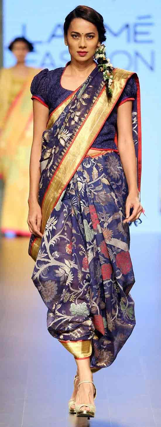 A classic yet ornately done nauvari sari designed by Gaurang Shah