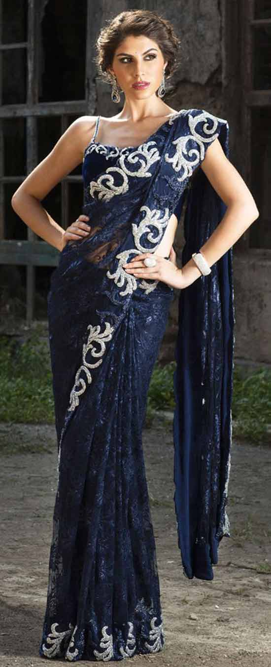 Chantilly lace saree, embellished with stone work, with velvet blouse