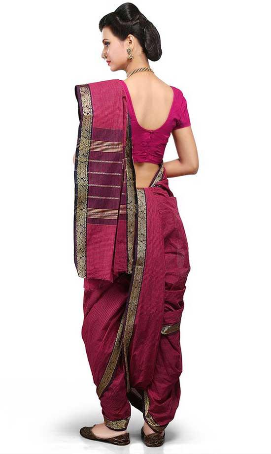 Dark pink cotton nauvari saree