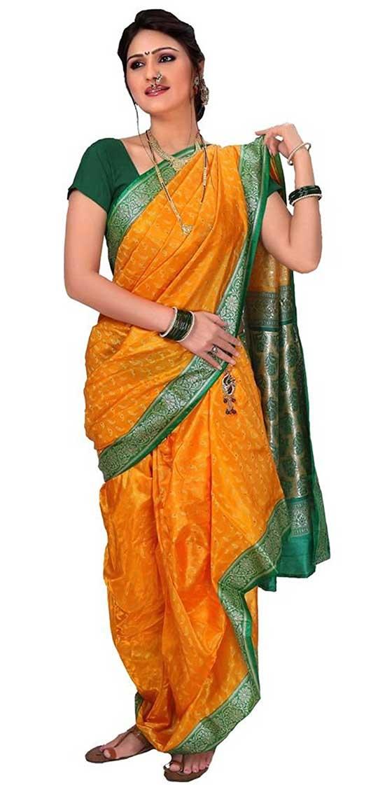 Golden Yellow Jacquard Nauvari Saree