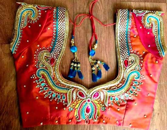 Latest Maggam Work Designs On Pattu Blouses