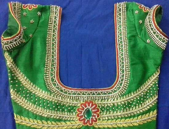 Pattu blouse with maggam work