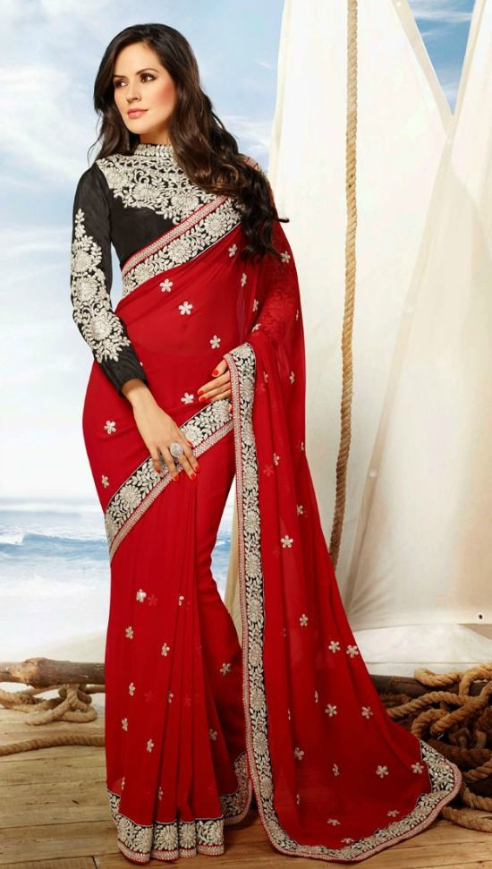 Transcendent Red Color Chiffon Party Wear Saree With Black Blouse