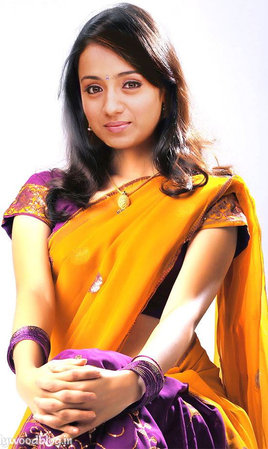 Trisha In Violet And Orange Half Saree
