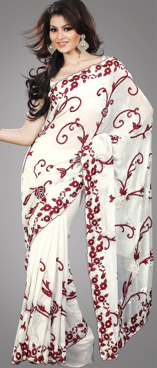 Urvashi Rautela In Off White Faux Embroidery Georgette Saree