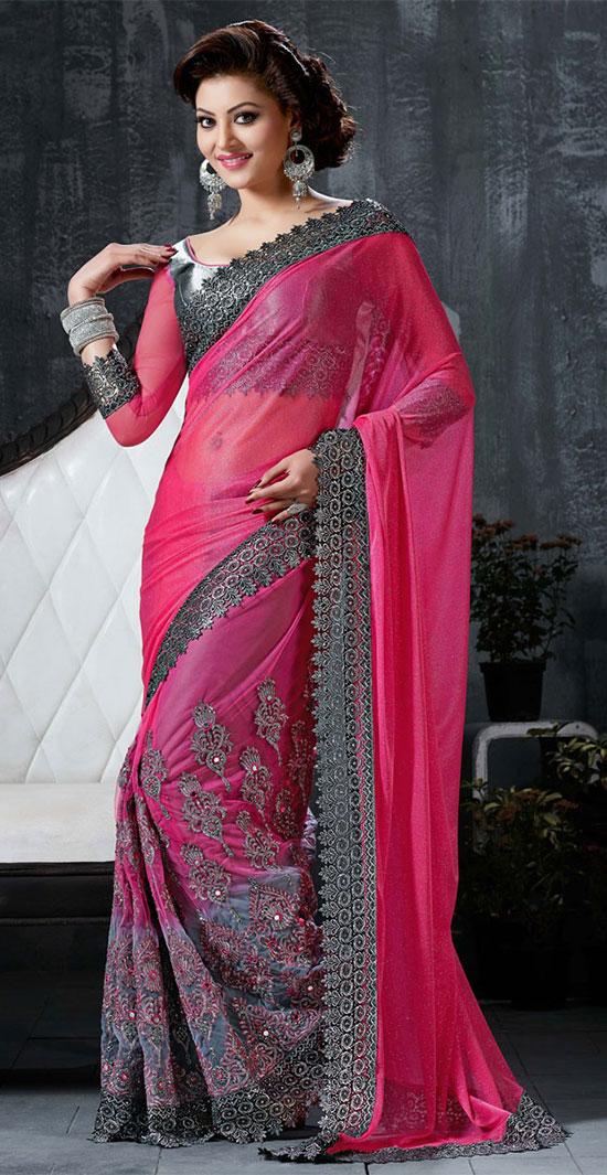 Urvashi Rautela Pink Designer Lycra Net Saree