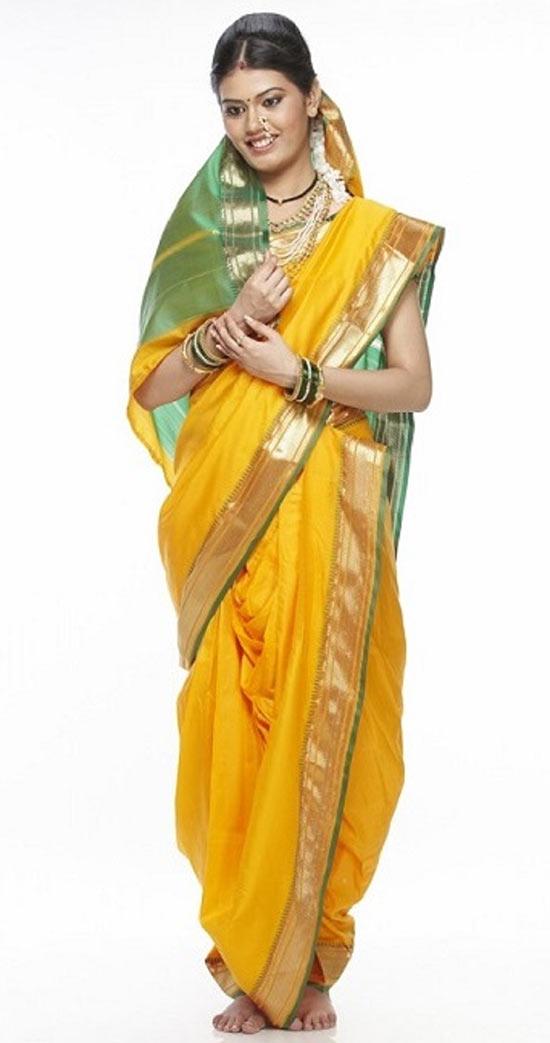 Yellow And Green Combination Nauvari Saree