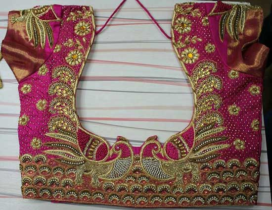 maggam work peacock blouse designs
