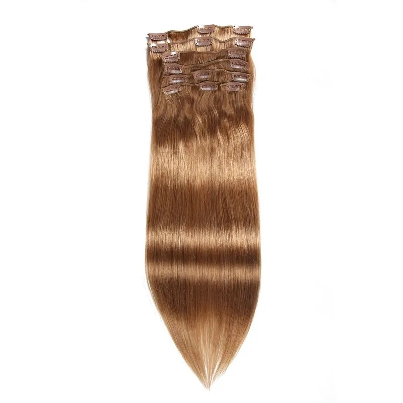 Beautyforever Straight Clip In Hair Brown Remy Human Hair