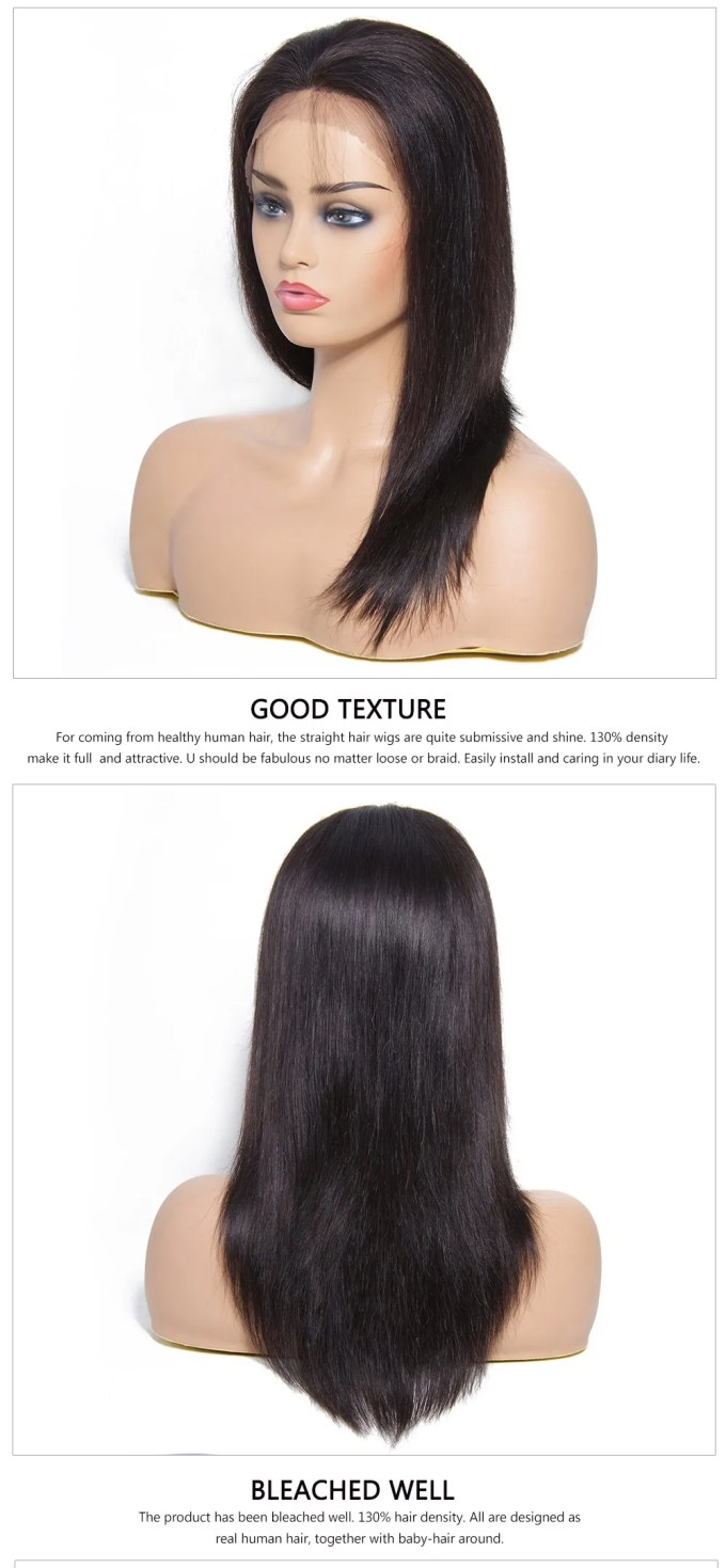 beautyforever best quality realistic long lace front straight black human  hair wigs