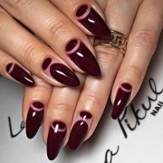 burgundy-nails-design-moons-stiletto-simle-sexy