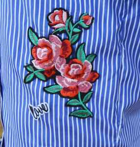 Striped Dragonfly Embroidered Shirt