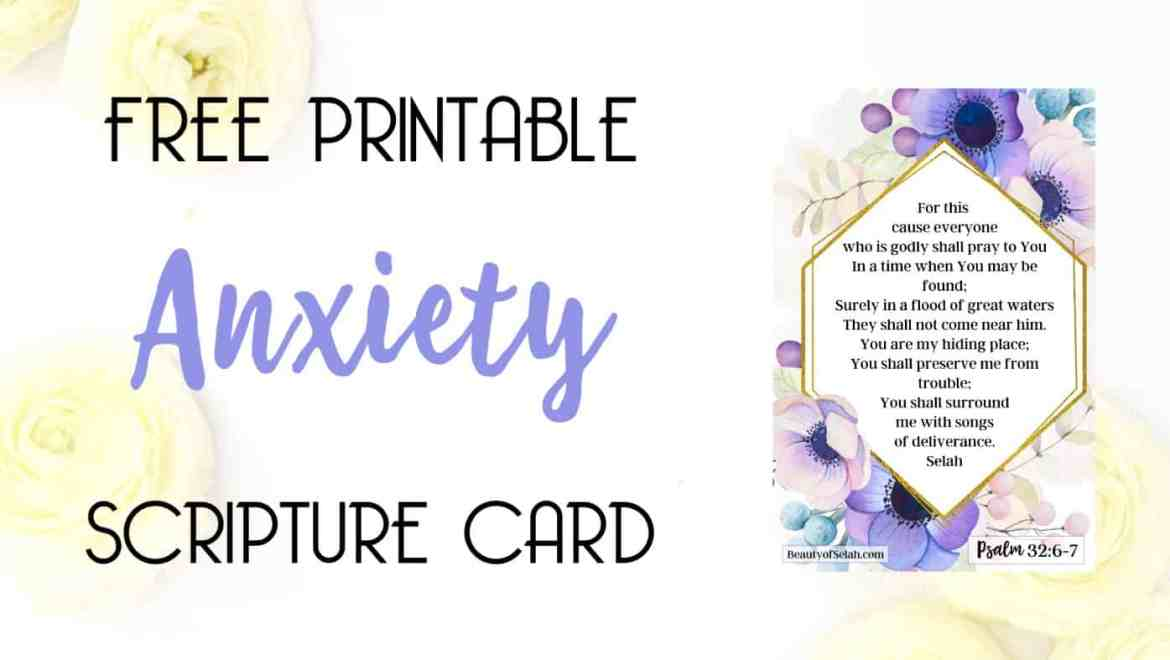 Free Printable anxiety scripture card
