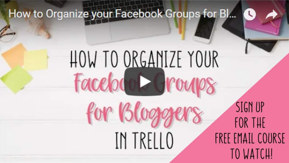 Organize Facebook Groups for Bloggers Email Sign Up
