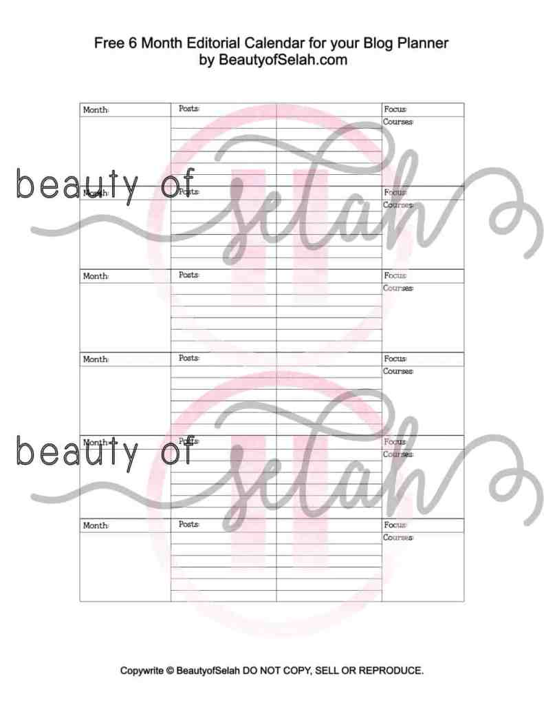 Free 6 Month Editorial Calendar for your Blog Planner #blogplanner #freeprintable