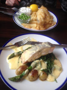 Fish and chips and salmon