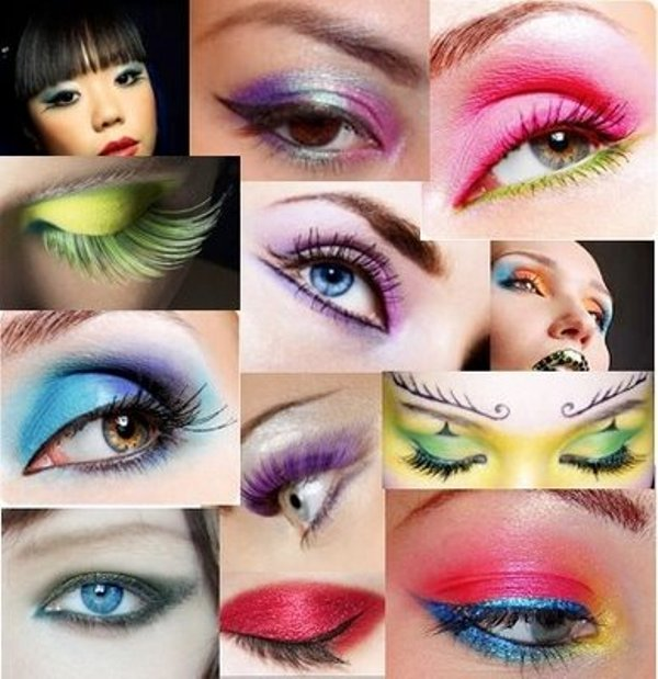 Bright and colorful eye shadow makeup
