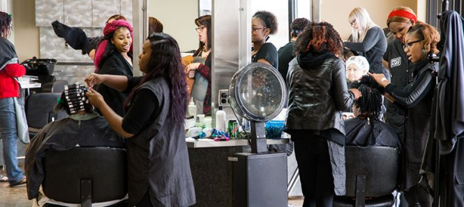 Cosmetology Students Test Spray On Nail Polish