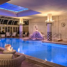 Indoor pool nightime