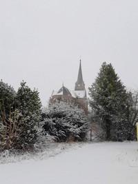 Eglise Beauval sous la neige