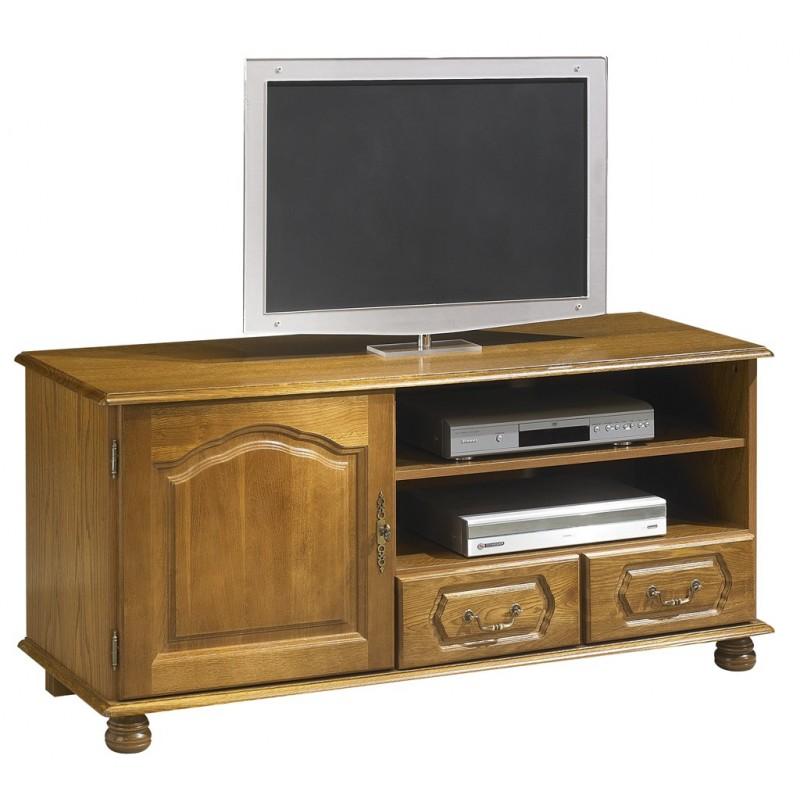 meuble banc tv chene 1 portes 2 tiroirs