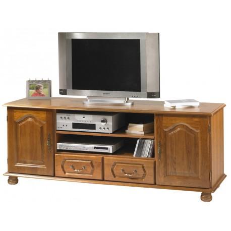 meuble tv chene 159 cm 2 portes 2 tiroirs