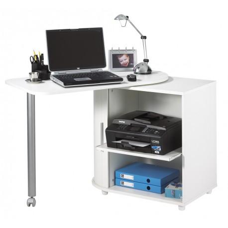 bureau informatique blanc pivotant