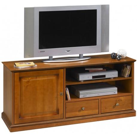 meuble tv merisier 135 cm 1 porte 2 tiroirs