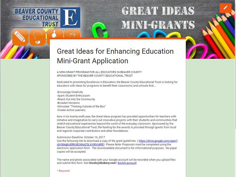 Grant Application | Beaver County Educational Trust