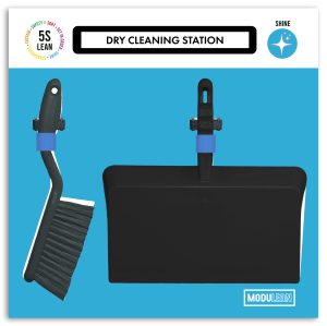 Modulean Lite Dry Cleaning Station Dustpan and Brush Shadow Board Blue