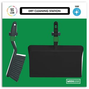 Modulean Lite Dry Cleaning Station Dustpan and Brush Shadow Board Green