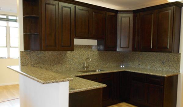 Ash Wood Chocolate Cabinets  Beaverton Kitchen Cabinets  Stone Inc